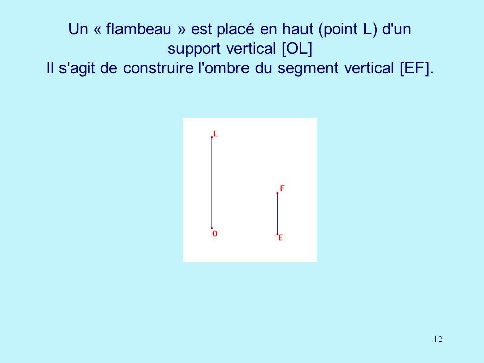 Un « flambeau » est placé en haut (point L) d un support vertical [OL] Il s agit de construire l ombre du segment vertical [EF].